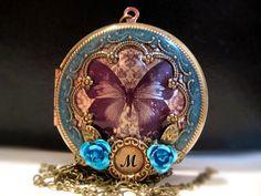 Locket, Butterfly Locket, Personalized Gift, Blue Aqua Necklace, Butterfly Necklace, Wing, Brass Filigree, Round, Brass, Locket    $72.50
