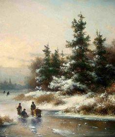 Lodewijk Johannes Kleijn - Sneeuwlandschap met schaatsers en een slede (1)
