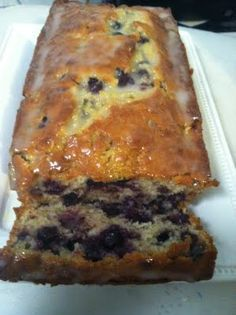 Blueberry banana bread.  I made this without the icing.  I substituted greek yogurt for the buttermilk and halved the sugar with truvia.  Light, lemony & moist.  So good!