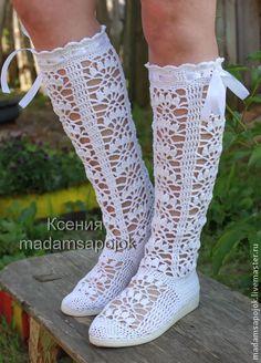 Вязаные сапожки летние ( хлопок) для улицы - белый,свадьба,Вязаные сапоги