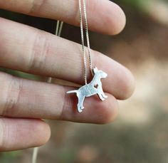 Bull Terrier necklace sterling silver hand cut by JustPlainSimple