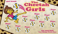 The Cheetah Girls digitally printed vinyl Soccer sports team banner. Made in the USA and shipped fast by Banners USA. http://www.bannersusa.com/art/templates_2/digital/banners/VBS_BB_banners.php