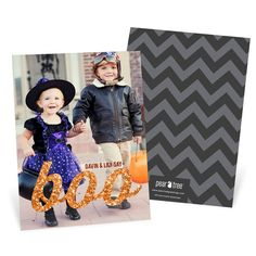 Glittery Boo Vertical -- Halloween Photo Cards. Halloween cards with glitter. A fun way to share with family!
