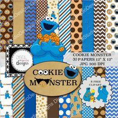 "Cookie Monster Digital Paper Pack - 30 Papers - 8 Clipart - Blue & Brown- 12""x12""- Printable Paper- Digital Scrapbooking- Instant Download -"