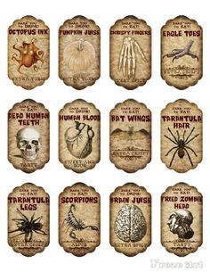 Halloween Apothecary Labels, Halloween Potion Bottles, Halloween Labels, Halloween Signs, Vintage Halloween, Halloween Pumpkins, Halloween Crafts, Halloween Decorations, Vintage Witch
