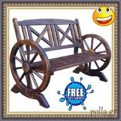 Garden-Wooden-Bench-Patio-Outdoor-Furniture-Deck-Porch-Seat-Chair-Wheel-Wood