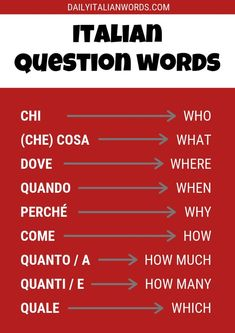 All the most important question words in the Italian language including: chi (who), che cosa (what), dove (where), quando (when), perché (why)… Italian Grammar, Italian Vocabulary, Basic Italian, Italian Words, Italian Memes, Italian Quotes, Learning Italian, Learning Spanish, Spanish Activities