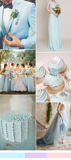 light cyan blue wedding color ideas and lace bridesmaid dress with cap sleeves
