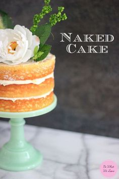 Naked Cake made from Cooks country yellow cake recipe with lavendar lemon cream cheese frosting