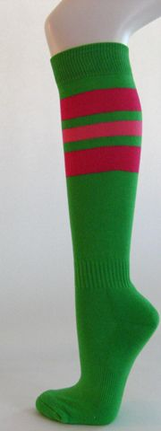 Bright green w hot pink bright pink stripe knee high softball socks 3PRs