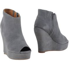 Jeffrey Campbell Shoe Boots ($92) ❤ liked on Polyvore featuring shoes, boots, ankle booties, grey, open toe booties, wedge boots, leather boots, grey leather booties and grey boots