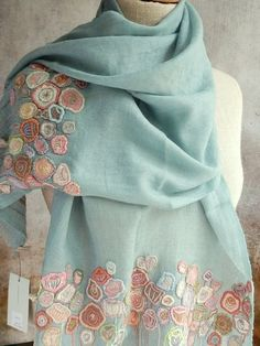 20 Ideas For Sewing Inspiration Clothes Infinity Scarfs Embroidery Scarf, Embroidery Stitches, Hand Embroidery, Embroidery Designs, Textiles, Sewing Clothes, Pattern Fashion, Knit Crochet, Creations