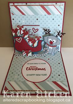 Karen Aicken using the Pop it Ups Sleigh Gift Card Holder, Buster the Dog, Props 5 and Merry & Bright clear stamps by Karen Burniston for Elizabeth Craft Designs. - 'Reindeer' Buster Sleigh Gift Card Holder