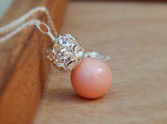 Pink coral bridesmaid necklace swarovski bride by SheJustSaidYes, $26.00