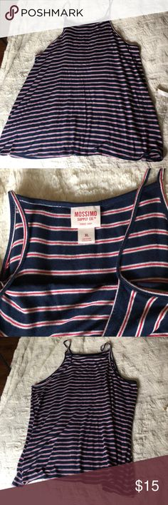 Red white and blue striped tank top Gently worn. I have a bunch of items in my closet so feel free to bundle🛍 I ship Monday-Saturday each day by 4pm📦💌 If making an offer, please be reasonable as Poshmark takes a hefty 20% of all items over $15 or a flat fee of $2.95 if the item is under $15😊 Smoke free home🚭 Always sending good vibes and happy poshing🌞❤️✨ Mossimo Supply Co. Tops Tank Tops