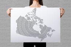 Canada map coloring poster mandala wall art patriotic gifts for Canadian Canada province map political map poster mandala pattern by AnnaGrundulsDesign