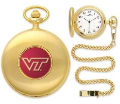 """Virginia Tech Hokies Pocket Watch by SunTime. $50.95. Metal Cover. Officially Licensed Virginia Tech Hokies Pocket Watch. Japanese Quartz-Accurate Movement. Unisex Adults. 12"""" Chain. Virginia Tech Hokies Pocket Watch. The classically styled Pocket Watch is thoughtfully crafted and is a superior quality timepiece. The Hokies pocket watch comes with a matching 12"""" chain. The watch features a quartz-accurate Japanese movement to display time on our traditionally styled watch face th..."""