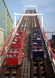 Ready to race on the Grand National, Blackpool Pleasure Beach, UK, built 1935, one of only three Möbius Loop coasters left in the world (you start on one side of the track and end up on the other as the ride is actually one long continuous track)