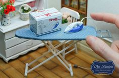 Miniature Set Collapsible ironing Board with Iron by MiniFanaberia