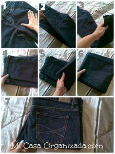 como doblar jeans