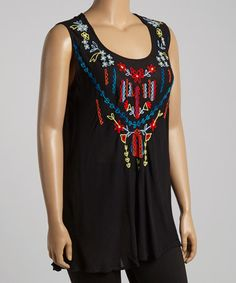 Look what I found on #zulily! Black & Fuchsia Embroidered Tank - Plus by Highness NYC #zulilyfinds