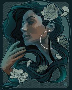 "Willgom's Instagram post: """"Back to Basic"" #illustration #digitalart #dominicanrepublic #woman #flowers #willgom"" Art Sketches, Art Drawings, Beautiful Dark Art, Mural Art, Pretty Art, Graffiti Art, Portrait Art, Art Inspo, Fantasy Art"