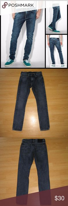 """Levi's 510 Slim Skinny Men's Jeans 29 x 30 These jeans are preloved but still in very good condition. These are the 510 skinny fit jean in Rad Indigo wash. Made of 99% cotton 1 % elastane. Tag size is W29 L30.  Waist across with natural dip is 13.5"""" Waist across when aligned is 14"""" Front Rise is 9"""" Inseam is 29"""" Levi's Jeans Skinny"""