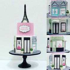 Gorgeous two tier Paris/Designer birthday cake for a sweet sixteen. All hand modeled and edible. Paris Birthday Cakes, Paris Themed Cakes, Paris Birthday Parties, Paris Cakes, Themed Birthday Cakes, Paris Party, Girly Cakes, Fancy Cakes, Cute Cakes