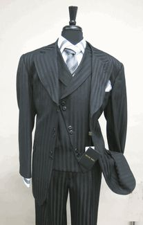 Milano Moda SL29197v Black Vested  Men's Suit 6 button Single Breasted Suit Jacket Satin Striped with Wide Peak Lapel and matching Vest and WIDE LEG Pleated Pants  lined to the knee available for $169.99 @ BerganBrothersSuits.com