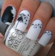 Amazing #mani by RainySunray Nails - #white and #black blowing #dandelion