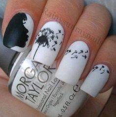 Amazing #mani by RainySunray Nails - #white and #black blowing #dandelion