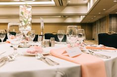 A wedding setup in the Archibald Cochran Ballroom at The Galt House Hotel in Louisville, Kentucky. Wedding Set Up, Brunch Wedding, Hotel Wedding, Louisville Wedding Venues, Louisville Kentucky, Galt House Hotel, Premier Hotel, Outdoor Balcony, Signature Cocktail