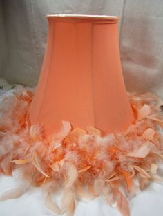 Feathered Lampshade Retro Orange Bell Lampshade by GOSHENPICKERS