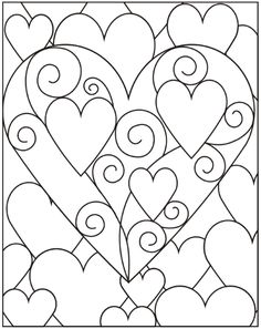Beautiful hearts design to use for crafting or to print and color. Heart Coloring Pages, Colouring Pages, Adult Coloring Pages, Coloring Books, Heart Template, Stained Glass Patterns, Valentine Day Crafts, Art Plastique, Op Art
