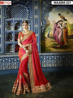Women's Beautiful Red Color  Silk And Georgette Saree With Blouse  #Sarees #Fashion #Looking #Popular #Offers #Deals #Looking #fashionable #Zinnga #Zinngafashion #Trend  #Trending #Deal #Beautiful #Nice #Look