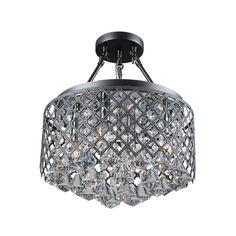 Nerisa Black Semi-flush Mount 4-light Crystal Chandelier - Overstock Shopping - Great Deals on Otis Designs Chandeliers & Pendants