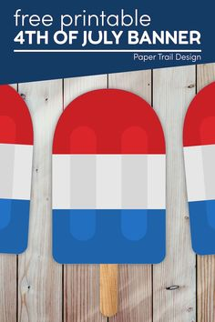 Decorate for the 4th of July with this cute free printable 4th of July banner in the shape of a red white and blue firecracker popsicle. Summer Crafts For Kids, Summer Kids, Party Printables, Free Printables, Memorial Day Decorations, 4th Of July Games, Fun Bucket, Party Themes