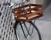 Handmade wood porter crates with a cup holder for bicycles. by bates crates Velo Vintage, Vintage Bicycles, Cool Bicycles, Cool Bikes, Cr V Honda, Velo Cargo, Bicycle Basket, Bike Baskets, Wooden Bicycle