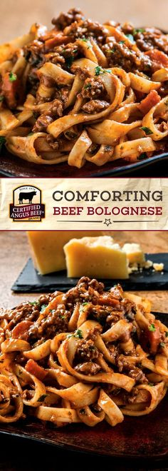 Magic happens as theCertified Angus Beef ®️️️️️️️️️️️️️️️️️️️ brand beef, BACON, and aromatic vegetables slowly cook down with wine, tomato paste, and beef broth in this COMFORTING Bolognese Recipe. Served with fettuccine pasta noodles and garnished with pleasantly salty Parmigiano-Reggiano cheese, this dish is a comfort food classic for your family table! #bestangusbeef #certifiedangusbeef #beefstewrecipe #pastarecipe
