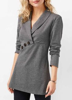 Long Sleeve Button Embellished Shawl Neck Top | Rosewe.com - USD $38.26