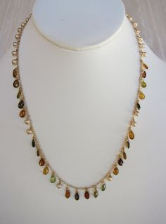 Brandy Tourmaline, Cream Pearl Handmade Necklace with 14K Gold Chain on Etsy, $600.00