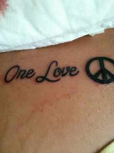 One love tattoo peace sign I would put color in though.