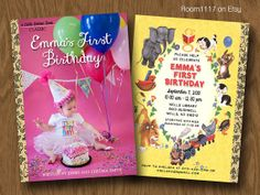 Little Golden Books Inspired Birthday Invitation - Personalized with Your Child's Picture - Book Shower - Book Party - Birthday