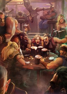 "Tavern Hijinks by Lap Pun Cheung on Artstation.  ""It was past the middle of the night.  They sat around the table, laughing and joking, resting from a long hard day of raiding merchant ships along the coast. The gang were up to their usual bar habits, Tanya brawled with a stranger who got too close to her beer, Billy almost passed out after one beer and Orik and Blaze were harassing the new kid.  They knew they couldn't stay too long. Tomorrow would be a new day and a new raid."""