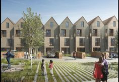 mikhail riches-A competition win for 20 townhouses within the redevelopment of BBC Television Centre at White City. Townhouse Interior, Modern Townhouse, Townhouse Designs, Co Housing, Social Housing, Brick Architecture, Residential Architecture, Architecture Colleges, Geometry Architecture