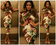 Love this floral print body con in earth tones