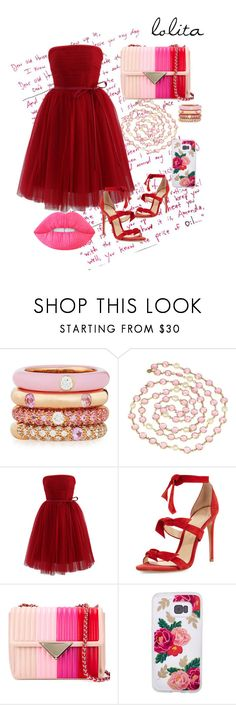 """""""Lolita's Red Prom"""" by anaismaljan ❤ liked on Polyvore featuring Adolfo Courrier, Chanel, Chicwish, Alexandre Birman and Lime Crime"""