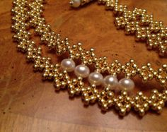 Gold & Turquoise beaded cuff bracelet by AmyKanarekDesigns on Etsy
