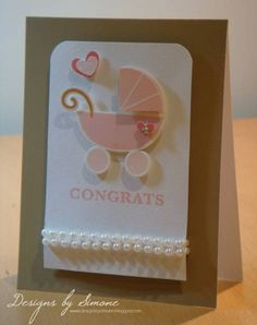 Congrats Pink Pearl Baby Pram Card by Simone N - Cards and Paper Crafts at Splitcoaststampers