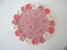Crochet Lace Doily - Pink and Natural Table Centerpiece with Small Flowers Home Decor / Bridal Shower Gifts via Etsy Crochet Doily Rug, Lace Doilies, Bridal Shower Gifts, Small Flowers, Pink Lace, Table Centerpieces, Pretty In Pink, 3 D, Shabby Chic